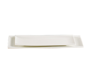 "Yanco SW-212 Sea Wave Plate, 12""L x 4-5/8""W, rectangular, dishwasher, porcelain, bone white"