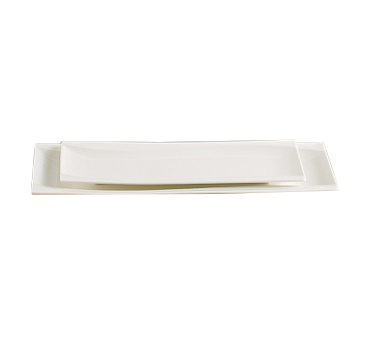 "Yanco SW-215 Sea Wave Plate, 15""L x 5-5/8""W, rectangular, dishwasher, porcelain, bone white"