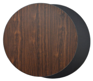 DHC T1-BW-R Round Reversible Laminate Table Top For Indoor Use (Black & Walnut)