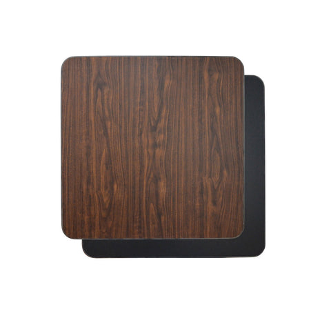 DHC T1-BW-S Square Reversible Laminate Table Top For Indoor Use (Black & Walnut)