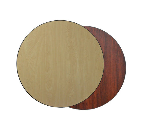 DHC T1-MN-R Round Reversible Laminate Table Top For Indoor Use (Mahogany & Natural)