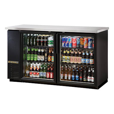 Two-Section Back Bar Cooler with (2) Glass Doors and (3) 1/2 Keg Capacity