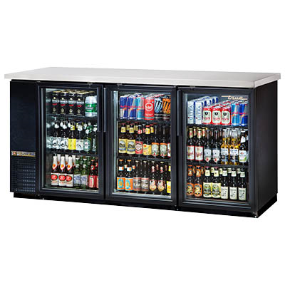 Three-Section Back Bar Cooler with (3) Hinged Glass Doors