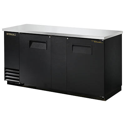 Two-Section Back Bar Cooler with (3) 1/2 Keg Capacity, Black