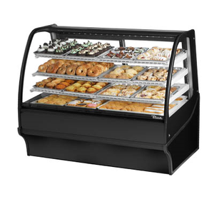 "True TDM-DC-59-GE/GE-B-W Display Merchandiser, Non-Refrigerated (Dry), 59-1/4""L, Curved Glass Front"