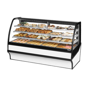 "True TDM-DC-77-GE/GE-B-W Display Merchandiser, Non-Refrigerated (Dry), 77-1/4""L, Curved Glass Front"
