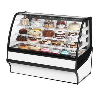 "True TDM-R-77-GE/GE-W-W Display Merchandiser, Refrigerated, 77-1/4""L, Curved Glass Front"
