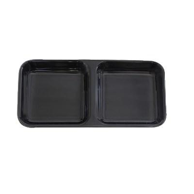 Thunder Group 19002BK Classic Black 4 oz. Rectangular Melamine Two Compartment Sauce Dish