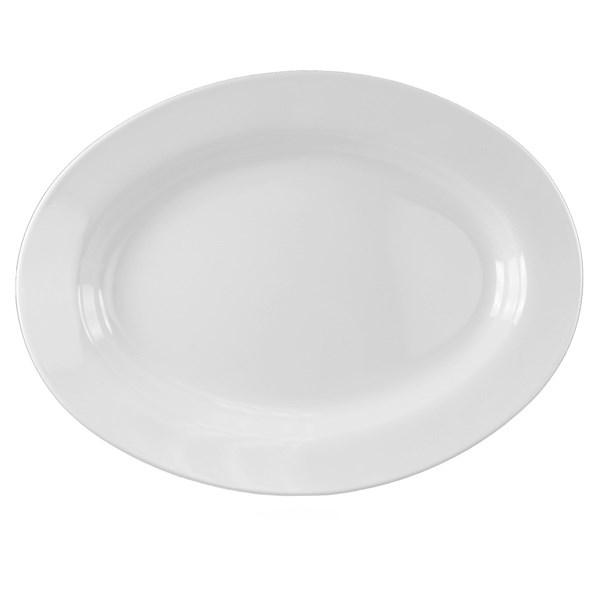 Thunder Group 2114TW Imperial 28 Oz. White Oval Mid Rim Melamine Deep Platter