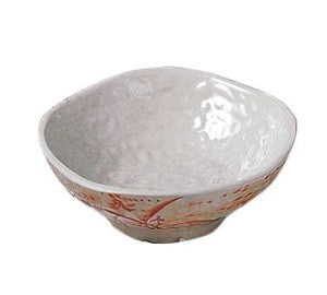 Thunder Group 3705 7 oz Gold Orchid Pattern Melamine Wave Rice Bowl