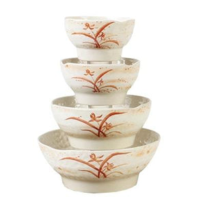 Thunder Group 3707 23 oz Gold Orchid Pattern Melamine Wave Soup Bowl