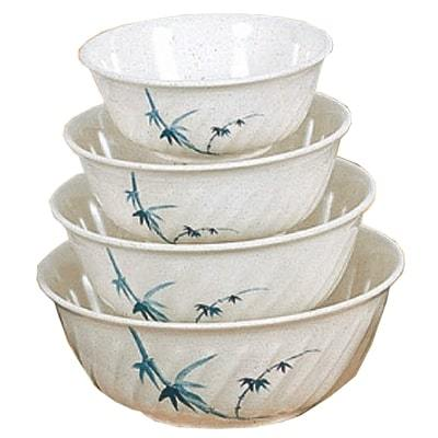 Thunder Group 5306BB Blue Bamboo 21 oz. Round Melamine Swirl Bowl