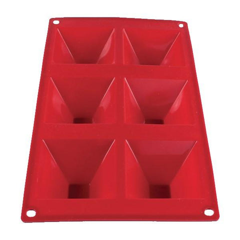 Thunder Group PLBM009S 3 Oz. Silicone Baking Mold - (6) Pyramid Cavities