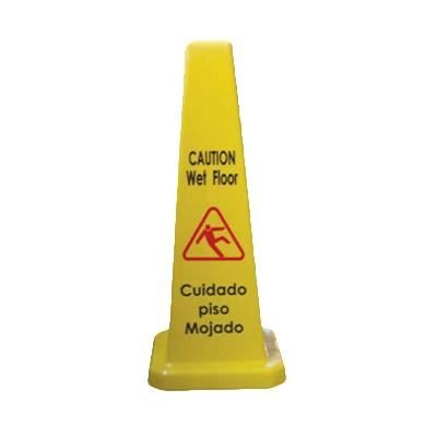 "Thunder Group PLWFC027 Cone Shape Wet Floor Caution Sign, 27""H, Plastic"