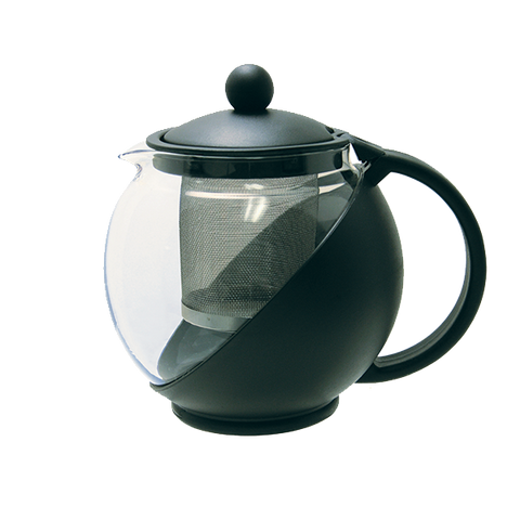 Crown Brands TPI-75 Update International™ - Tea Pot, 25 oz., with removable stainless steel infuser, glass carafe, durable, plastic, black