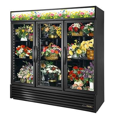 Three-Section Refrigerated Floral Cooler with Swing Doors