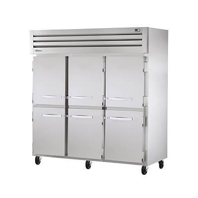 Three-Section Reach-in Refrigerator with (6) Half Stainless Steel Doors