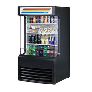Vertical Open Display Case Merchandiser with Glass Side