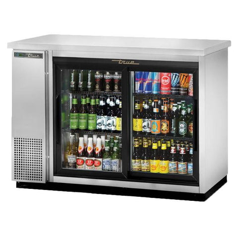 Two-Section Back Bar Refrigerator with (2) Sliding Glass Doors