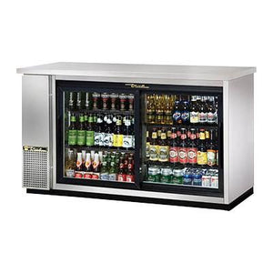 "True TBB-24-60G-SD-S-HC-LD 61.13"" Bar Refrigerator - 2 Sliding Glass Doors, Stainless, 115v"