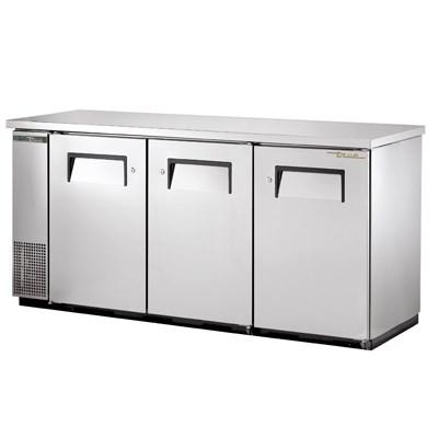 Three-Section Back Bar Refrigerator with (3) Swinging Solid Doors