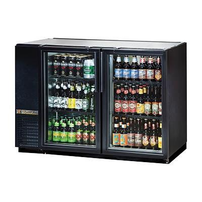 Two-Section Black Back Bar Refrigerator with (2) Swing Glass Doors