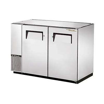 Two-Section Stainless Steel Back Bar Refrigerator with (2) Swing Doors