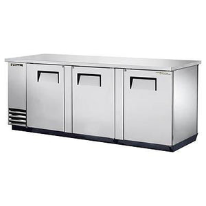 "True TBB-4PT-S 90.38"" Bar Refrigerator - 3 Swinging Solid Doors, Stainless, 115v"