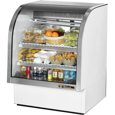 "Full Service Deli Case 36"" White with Curved Glass"