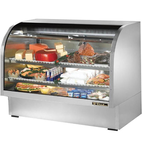"60"" Full Service Deli Case with Curved Glass - 3 Levels, 115v"