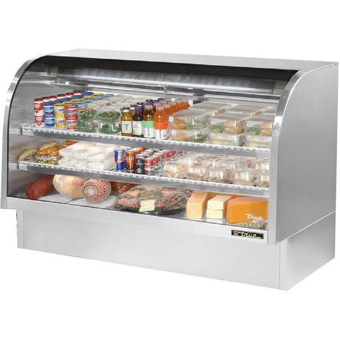 "72"" Full Service Deli Case with Curved Glass - 3 Levels, 115v"