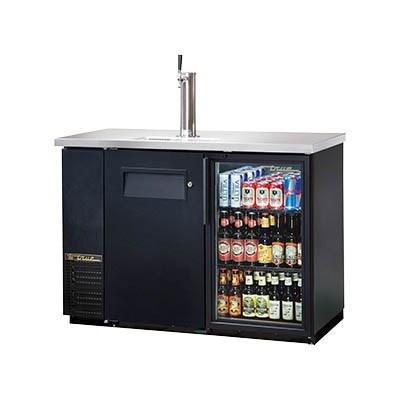"Combination Solid/Glass Swing Door 24"" Back Bar/Direct Draw Beer Dispenser with LED Lighting & Hydrocarbon Refrigerant, Black, 115v"