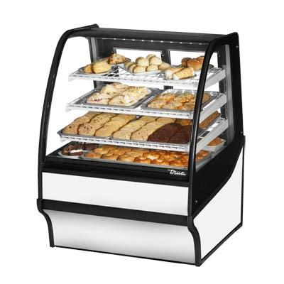 "True TDM-DC-36-GE/GE-W-W 36.25"" Full-Service Dry Bakery Case with Curved Glass - 4 Levels, 115v"