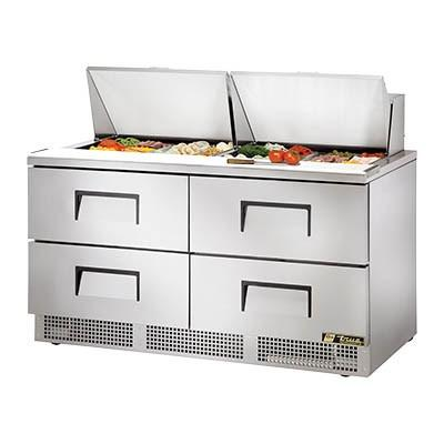 2-Section Sandwich/Salad Prep Table with Refrigerated Base, 4 Drawers, 115v