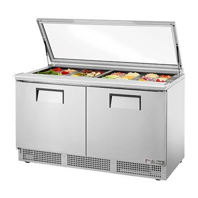 "64"" Sandwich/Salad Prep Table, Flat Glass Lid with Refrigerated Base, 4 Shelves, 115v"