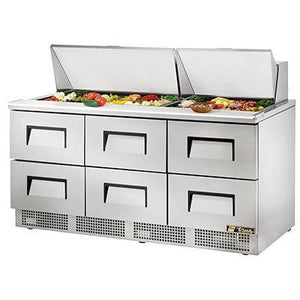 "72"" 3-Section Sandwich/Salad Prep Table with Refrigerated Base, Contains 6 Drawers, 115v"