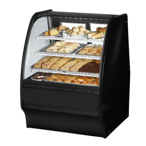 "Non-Refrigerated Merchandiser Dry 36-1/4""L, Curved Glass with 6 Shelves Total, 115v"