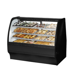"True TGM-DC-59-SC/SC-S-W Non-Refrigerated Merchandiser Dry 59-1/4""L, Curved Glass with 6 Shelves Total,115v"