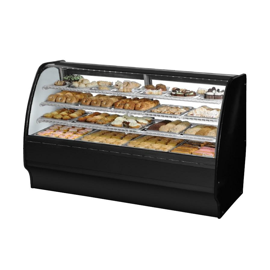 "Non-Refrigerated Merchandiser Dry 77-1/4""L, Curved Glass with 6 Shelves Total, 115v"