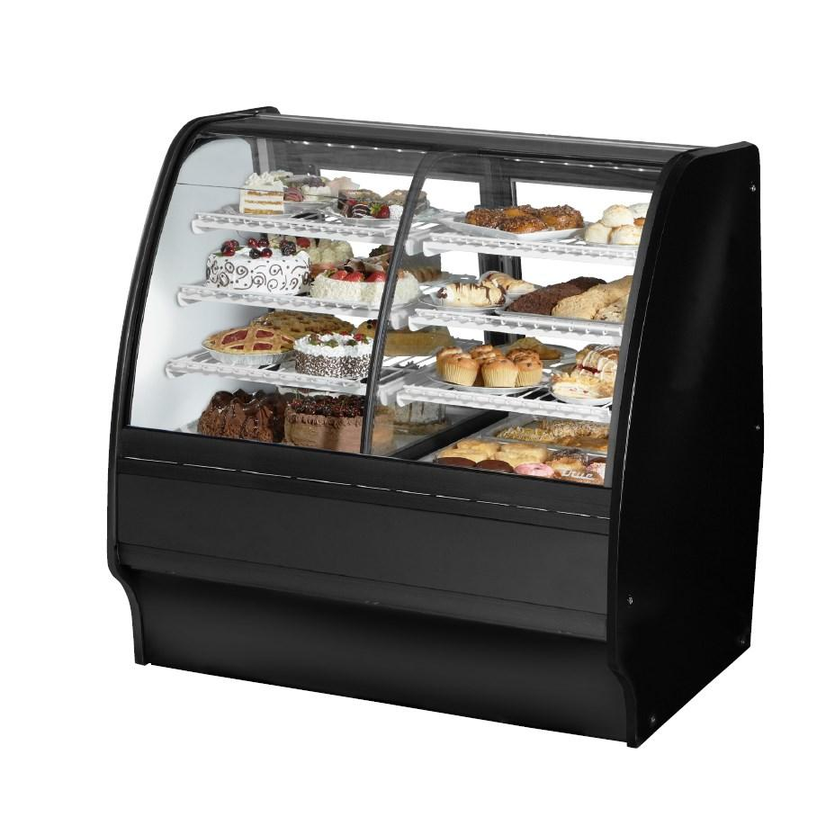 "Glass Merchandiser, Dual Zone Dry/Refrigerated, 48-1/4""L, Curved Glass with 6 Shelves Total, 115v"