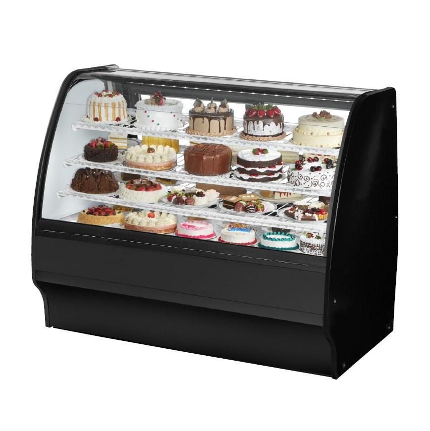 "True TGM-R-59-SC/SC-W-W Refrigerated Merchandiser 59-1/4""L, Curved Glass with 6 Shelves Total, 115v"