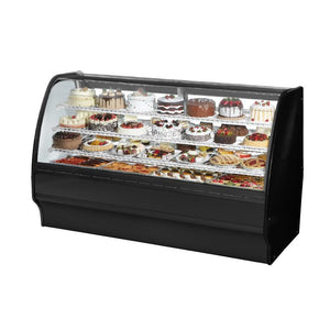 "True TGM-R-77-SC/SC-B-W Refrigerated Merchandiser 77-1/4""L, Curved Glass Front with 6 Shelves Total, Black, 115v"