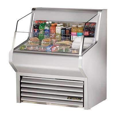 "True THAC-36-S-LD 36"" Horizontal Open Air Cooler with 3 Levels, LED Interior Lighting, Stainless Steel, 115v"
