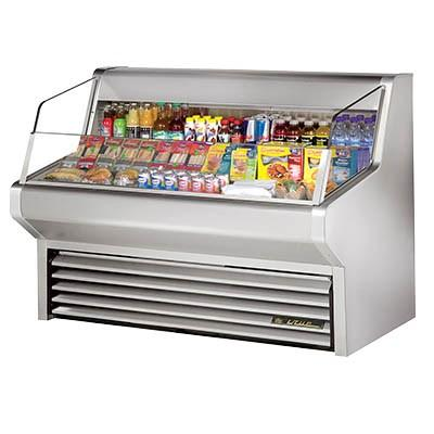 True THAC-60-S-LD Horizontal Air Curtain Merchandiser, 3 Level Tiered Stainless Steel Floor, Stainless Steel Exterior & Interior, 115v