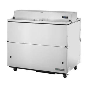 Mobile Milk Cooler, 12 Crates, Stainless Steel Drop Front/Hold-Open Flip-Up Lids