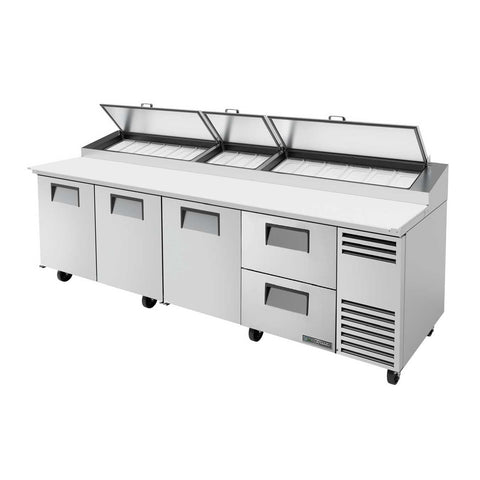 Pizza Prep, with Stainless Steel Cover, Cutting Board, 3 Full Doors, 2 Drawers, 115v