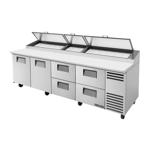Pizza Prep, Stainless Steel Cover, Cutting Board, 2 Full Doors, 4 Drawers