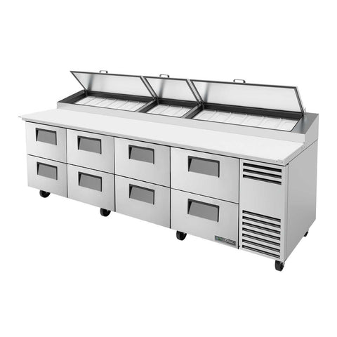 Pizza Prep, 33-41°F Pan Rail, Stainless Steel Cover, Cutting Board, 8 Drawers