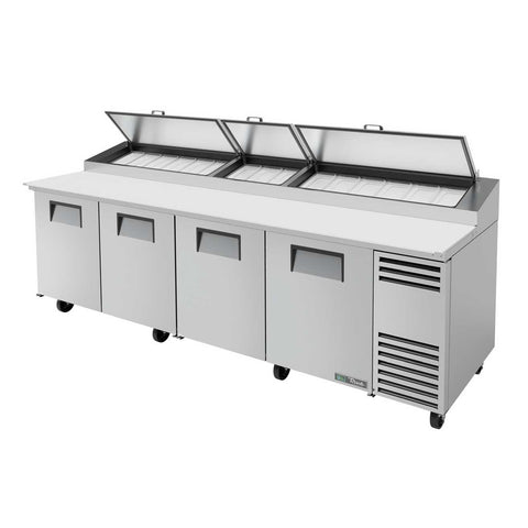Pizza Prep, Pan Rail, with Stainless Steel Cover, Cutting Board, 4 Full Doors