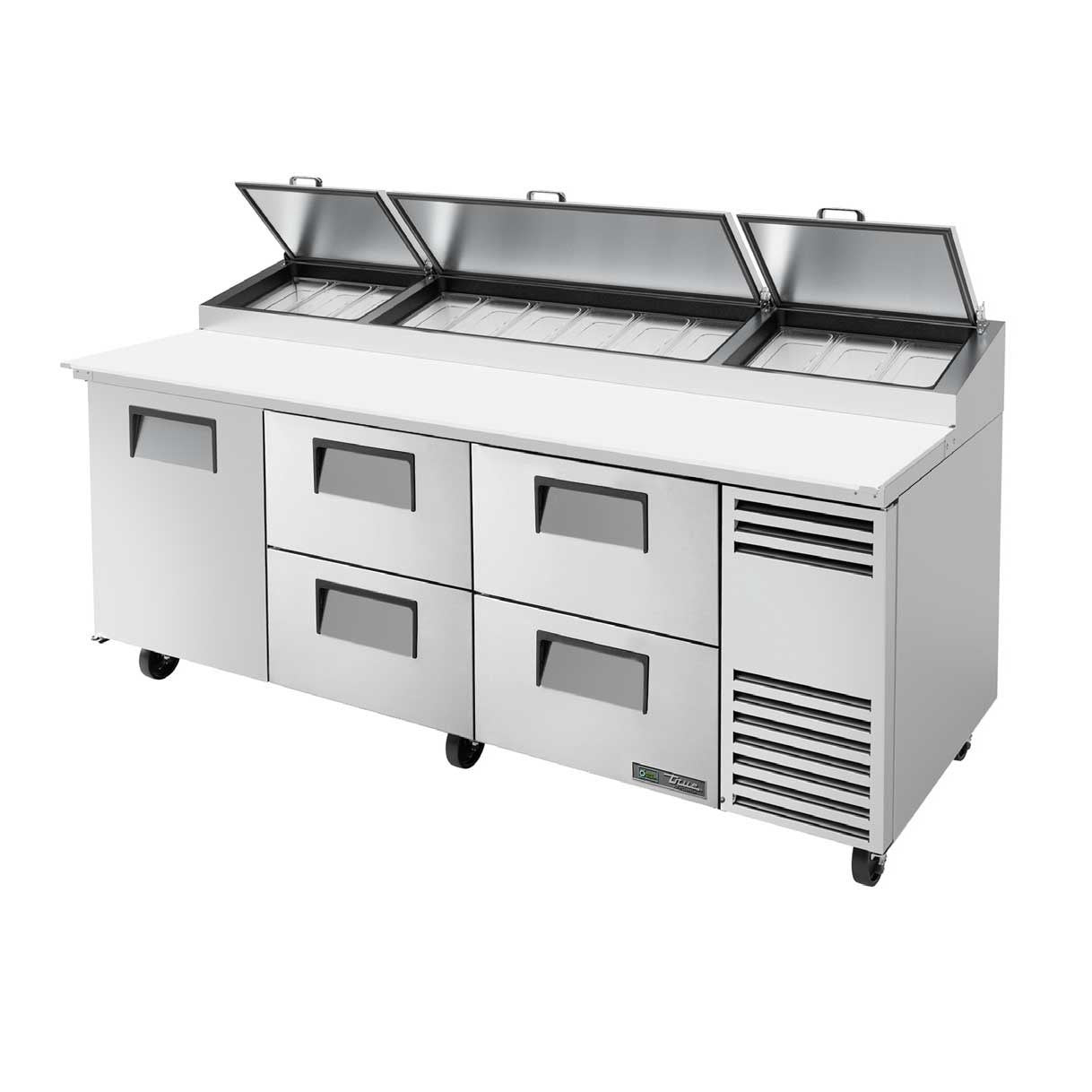 "True TPP-AT-93D-4-HC Pizza Prep, 33-41°F Pan Rail, Stainless Steel Cover, 19.5""D Cutting Board, 1 Door, 4 Drawers, 115v"